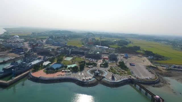 sapgyoho amusement park and sapgyoho ocean park / dangjin-si, chungcheongnam-do, south korea - luogo d'interesse locale video stock e b–roll