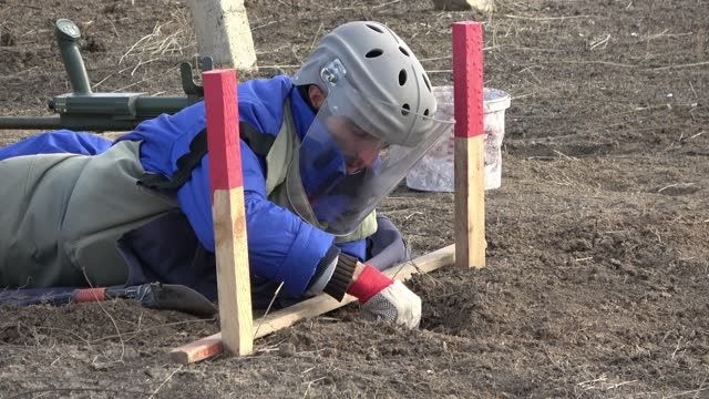 sapper of the azerbaijan national agency for mine action demines a minefield near the town of agdam that was captured and destroyed by ethnic... - 14 15 years stock videos & royalty-free footage