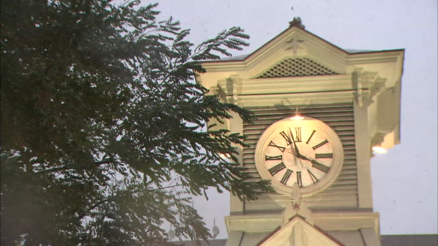 sapporo clock tower in snow - clock tower stock videos & royalty-free footage