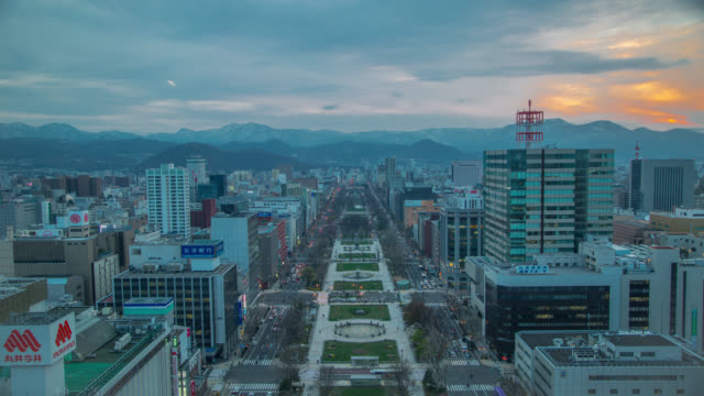 sapporo top view of tv tower day to night - hokkaido stock videos & royalty-free footage