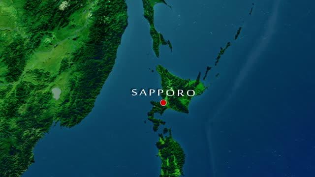 札幌のズームイン - 地図点の映像素材/bロール