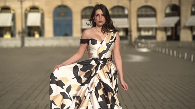 sara carnicella wears an off-shoulder long dress with beige white and black printed patterns from tony ward, on january 25, 2021 in paris, france. - elegance stock videos & royalty-free footage