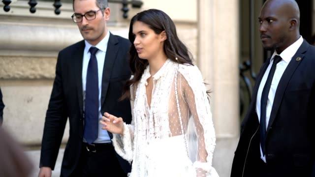 sara sampaio wears a white lace dress outside the elie saab show during paris fashion week haute couture fall/winter 20172018 on july 5 2017 in paris... - lace textile stock videos & royalty-free footage