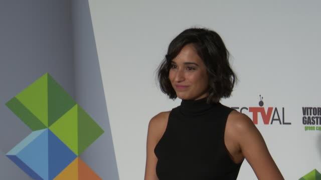 stockvideo's en b-roll-footage met sara sanz attends the presentation of 'el secreto de puente viejo' at festval vitoria 2019 - puente
