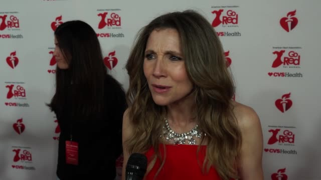 interview sarah chalke shares why this is such an important cause to support at the american heart association's go red for women® red dress... - sarah chalke stock videos & royalty-free footage