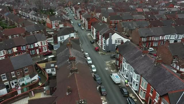 domestic abuse on the rise in the uk; england: merseyside: liverpool: katie walker setup shots and interview sot cutaway reporter air views / aerials... - crime and murder stock-videos und b-roll-filmmaterial