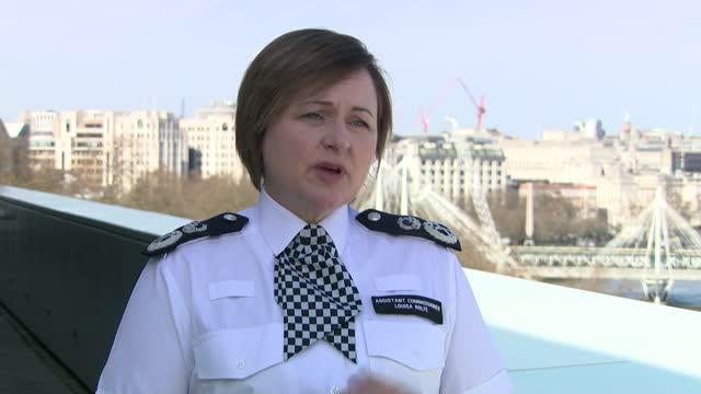 metropolitan police interviews; england: london: ext louisa rolfe interview sot. q - your version of events differs from protesters who say it was... - crime and murder stock-videos und b-roll-filmmaterial