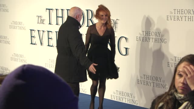 sarah ferguson duchess of york at 'the theory of everything' uk film premiere at odeon leicester square on december 08 2014 in london england - audio electronics stock videos & royalty-free footage