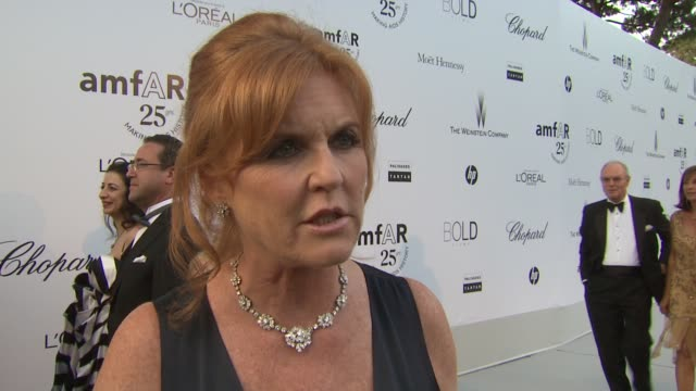 Sarah Ferguson Duchess of York on the inspiration of amfAR at the amfAR Gala Red Carpet Arrivals 64th Cannes Film Festival at Antibes