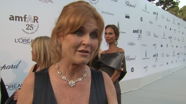 Sarah Ferguson Duchess of York on the legacy of Elizabeth Taylor at the amfAR Gala Red Carpet Arrivals 64th Cannes Film Festival at Antibes