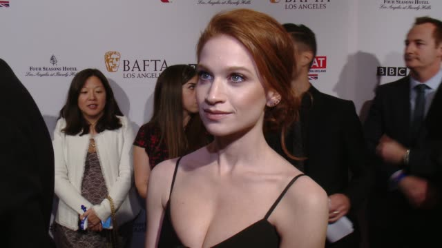interview sarah hay on being at the event and on awards season at the bafta los angeles awards season tea party at four seasons hotel los angeles at... - tea party stock videos and b-roll footage