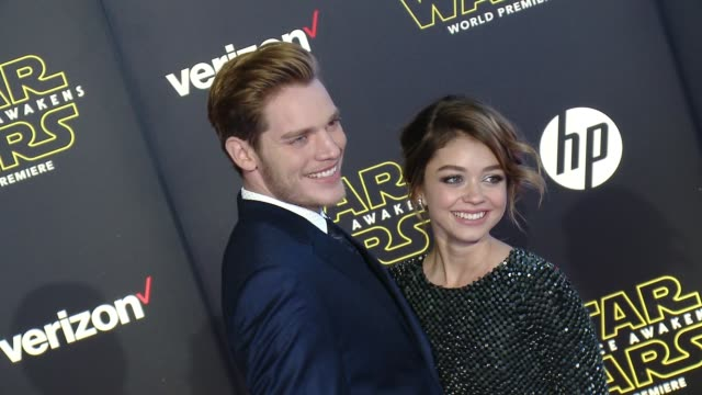 sarah hyland and dominic sherwood at the star wars the force awakens world premiere at tcl chinese theatre on december 14 2015 in hollywood california - sarah hyland stock videos and b-roll footage