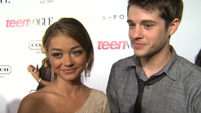 sarah hyland and matt prokop on what she's looking forward to tonight on what she's working on and on her advice to young people trying to break into... - sarah hyland stock videos and b-roll footage