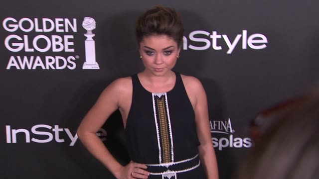 sarah hyland at the hollywood foreign press association and instyle celebrate the 2014 golden globe awards season in west hollywood ca on - sarah hyland stock videos and b-roll footage
