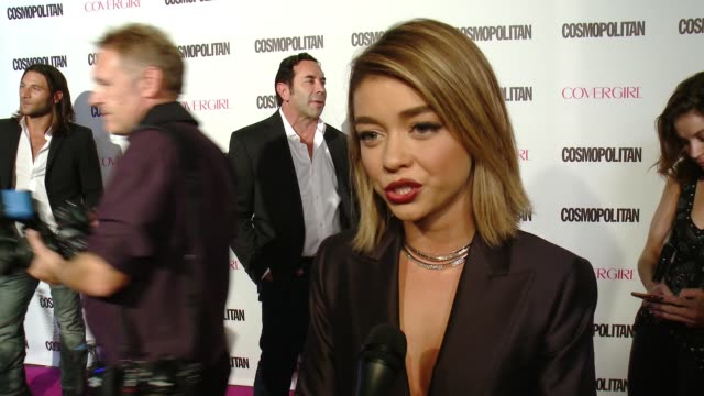 interview sarah hyland on being a fan of cosmopolitan at cosmopolitan magazine's 50th birthday celebration in los angeles ca - interview event stock videos & royalty-free footage