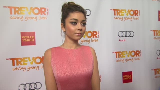 sarah hyland on why she supports the trevor project what she is most looking forward to and why katy perry is deserving of the trevor hero award... - the trevor project stock videos and b-roll footage