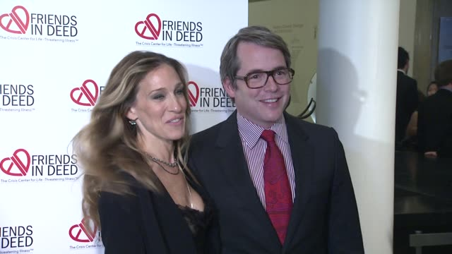sarah jessica parker and matthew broderick at the a little jurassic treasure hunt a 20th anniversary benefit celebrating 'friends in deed' at new... - matthew broderick stock videos & royalty-free footage
