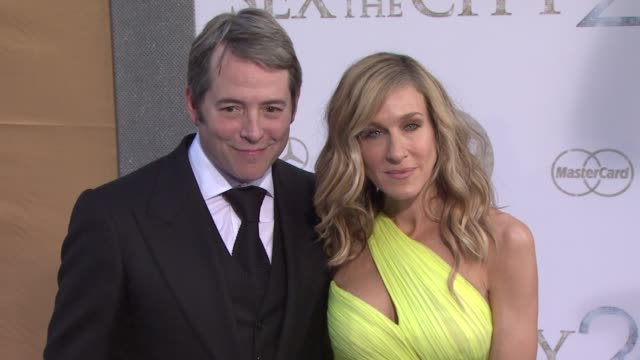 sarah jessica parker and matthew broderick at the 'sex and the city 2' new york premiere arrivals at new york ny - matthew broderick stock videos & royalty-free footage
