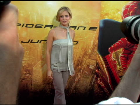 sarah michelle gellar at the 'spider-man 2' los angeles premiere arrivals at the mann village theatre in westwood, california on june 22, 2004. - house spider stock videos & royalty-free footage
