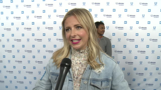 sarah michelle gellar on the we charity, beneficiaries and all the good that comes from we day at the we day california celebrates 16,000 youth... - beneficiary stock videos & royalty-free footage