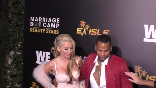 sarah oliver & jimmy 'inkman' coney at the we tv celebrates the premiere of marriage boot camp reality stars and ex-isled at le jardin nightclub in... - reality tv stock videos & royalty-free footage
