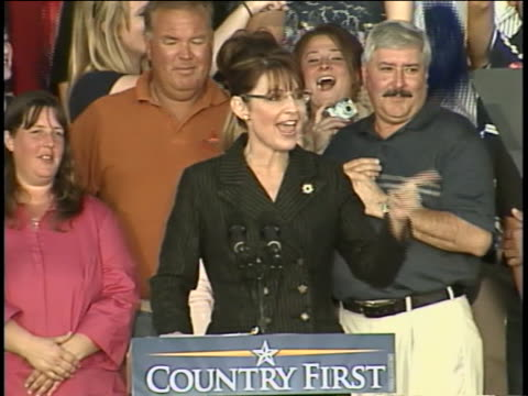 sarah palin speaks about nuclear power plants job creation and clean coal at a rally in saint clairsville ohio during the 2008 presidential campaign - united states and (politics or government) stock videos & royalty-free footage