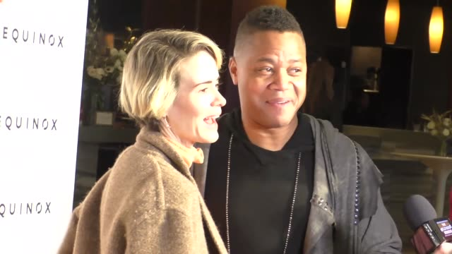 sarah paulson and cuba gooding jr at the gold meets golden benefit at equinox sports club west la on january 07 2017 in los angeles california - sarah paulson stock videos and b-roll footage