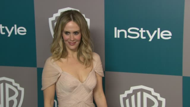 sarah paulson at 13th annual warner bros and instyle golden globe afterparty on 1/15/2012 in beverly hills ca - sarah paulson stock videos and b-roll footage
