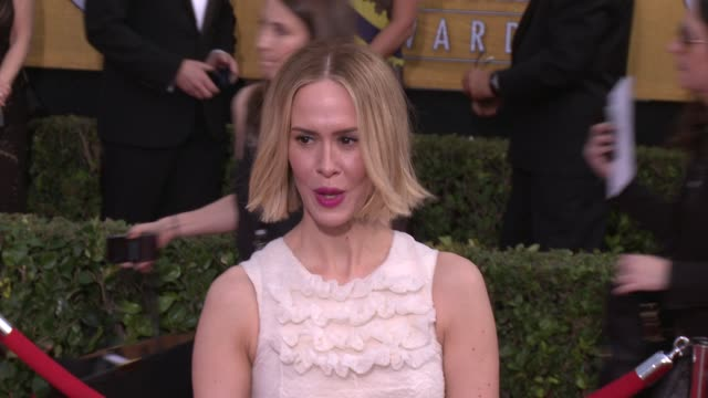sarah paulson at 20th annual screen actors guild awards - arrivals at the shrine auditorium on in los angeles, california. - shrine auditorium stock videos & royalty-free footage