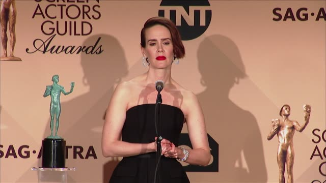 speech sarah paulson at 23rd annual screen actors guild awards press room in los angeles ca - sarah paulson stock videos and b-roll footage