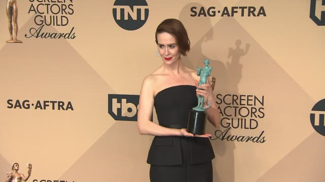 sarah paulson at 23rd annual screen actors guild awards press room photo room at the shrine expo hall on january 29 2017 in los angeles california - sarah paulson stock videos and b-roll footage