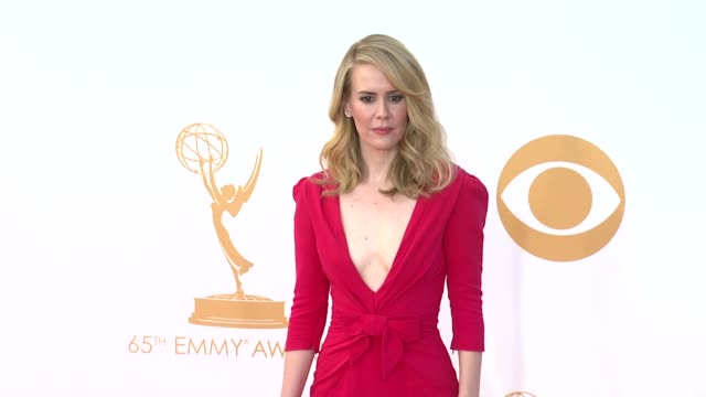 sarah paulson at 65th annual primetime emmy awards arrivals sarah paulson at 65th annual primetime emmy awards at nokia theatre la live on september... - sarah paulson stock videos and b-roll footage