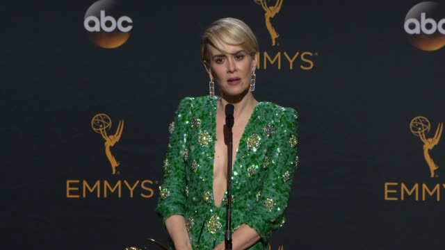 interview sarah paulson at 68th annual primetime emmy awards press room in los angeles ca - sarah paulson stock videos and b-roll footage