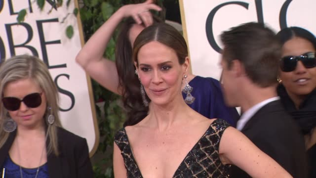 sarah paulson at 70th annual golden globe awards arrivals 1/13/2013 in beverly hills ca - sarah paulson stock videos and b-roll footage