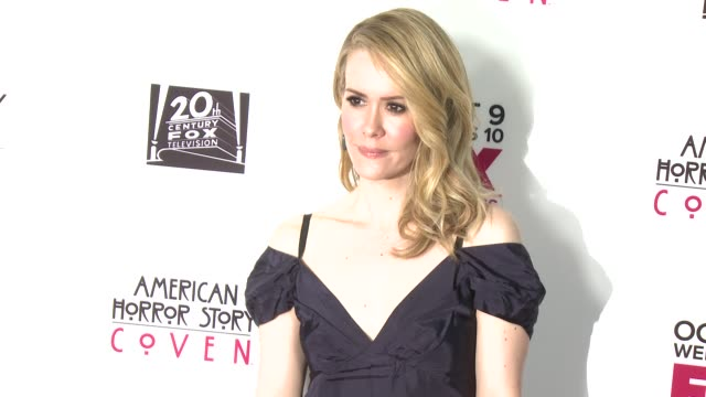 coven los angeles premiere on 10/5/13 in los angeles ca - sarah paulson stock videos and b-roll footage