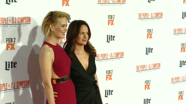 """sarah paulson at fx's """"the people v. o.j. simpson: american crime story"""" premiere at westwood village theatre on january 27, 2016 in westwood,... - westwood video stock e b–roll"""