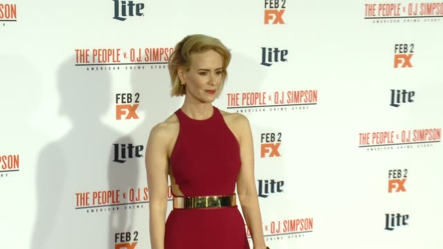 sarah paulson at fx's the people v oj simpson american crime story premiere at westwood village theatre on january 27 2016 in westwood california - westwood village stock-videos und b-roll-filmmaterial