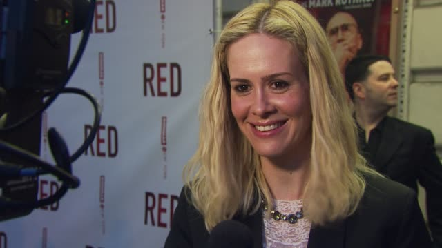 sarah paulson at the 'red' broadway opening night arrivals at new york ny - sarah paulson stock videos and b-roll footage