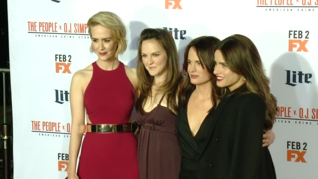 sarah paulson carla gallo and amanda peet at fx's the people v oj simpson american crime story premiere at westwood village theatre on january 27... - westwood village stock-videos und b-roll-filmmaterial