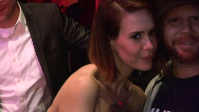 sarah paulson greets fans while departing the emmy after party for netflix primetime at chateau marmont in west hollywood in celebrity sightings in... - sarah paulson stock videos and b-roll footage