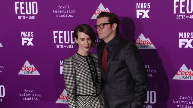"""sarah paulson, jason butler harner at premiere of fx network's """"feud: bette and joan"""" in los angeles, ca 3/1/17 - fx network stock videos & royalty-free footage"""