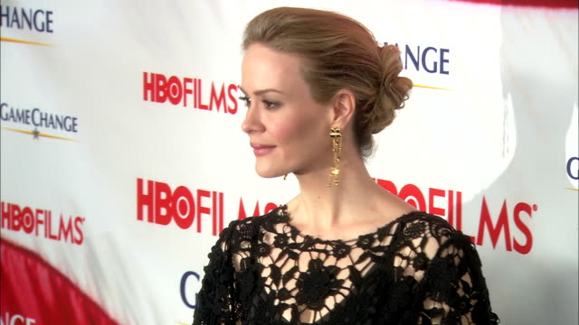 sarah paulson posing for paparazzi along the red carpet at the ziegfeld theater - sarah paulson stock videos and b-roll footage