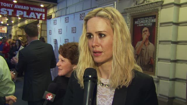 sarah paulson talks about her first broadway show being cats and how she loves everything about nyc at the 'red' broadway opening night arrivals at... - sarah paulson stock videos and b-roll footage