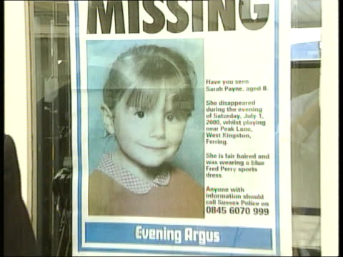 """sarah payne disappearance: response to police appeal; england: west sussex: littlehampton: ext gv """"police"""" sign on wall to i/c int superintendent... - west sussex stock videos & royalty-free footage"""