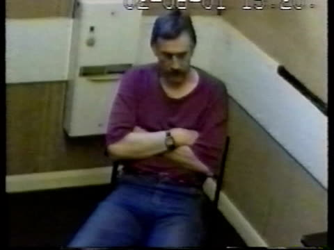 roy whiting to stay in prison for 50 years cf tape no longer available = no timecode date on screen roy whiting sitting during police interrogation... - interrogation stock videos & royalty-free footage