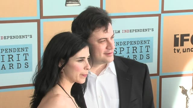 sarah silverman and jimmy kimmel at the the 21st annual ifp independent spirit awards in santa monica california on march 4 2006 - ifp independent spirit awards stock videos and b-roll footage