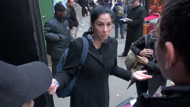 Sarah Silverman arrives at Good Morning America and signs for fans in New York NY on 11/02/12