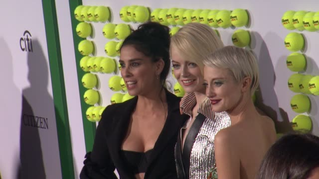 Sarah Silverman Emma Stone and Andrea Riseborough at 'Battle of the Sexes' Los Angeles Premiere Presented By Fox Searchlight at Regency Village...