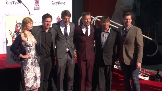 Sarah Snook Michael Spierig Jason Blum Ethan Hawke Richard Linklater and Peter Spierig at the TCL Chinese Theater Handprint And Footprint Ceremony...