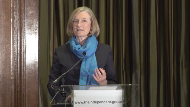 sarah wollaston speech at conservative defection press conference to explain why she is leaving the party and joining the independent group / change... - parlamentsmitglied stock-videos und b-roll-filmmaterial